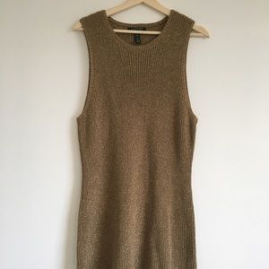 RALPH LAUREN GOLD KNIT COCKTAIL DRESS, BRAND NEW